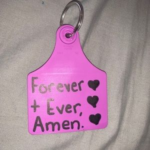 """""""Forever and ever amen"""" cow tag keychain in purple"""